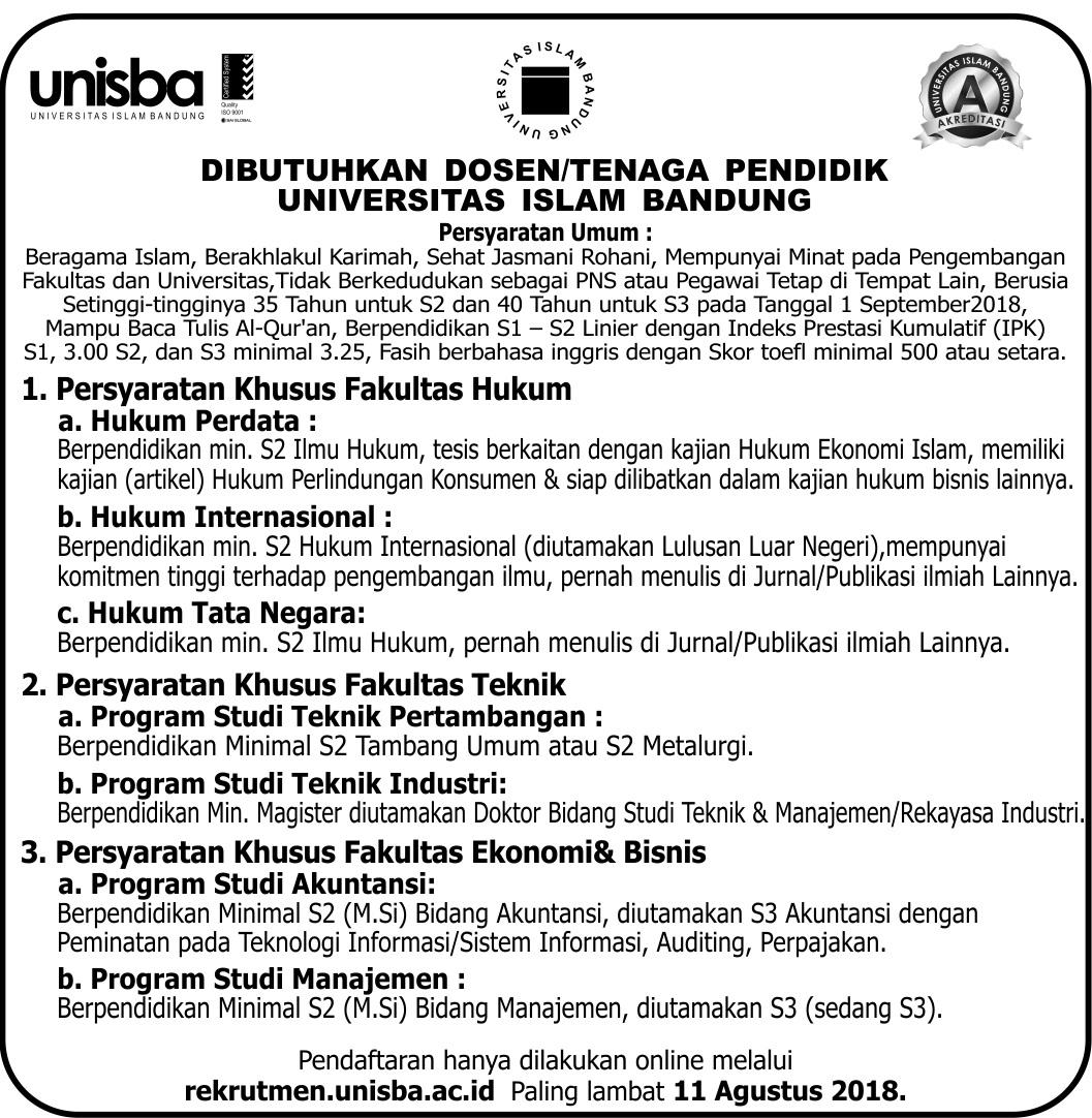 Lowongan Dosen Tenaga Pendidik Universitas Islam Bandung Unisba